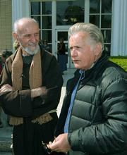 Father Louis Vitale (left) and Martin Sheen
