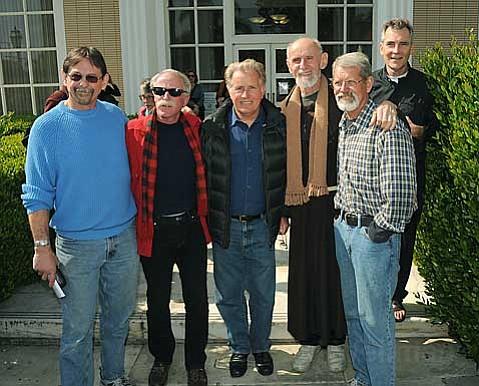 L to R  Mike Wisniewski, Jeff Dietrich, Martin Sheen, Father Louis Vitale, Dennis Apel, and Father Steve Kelly
