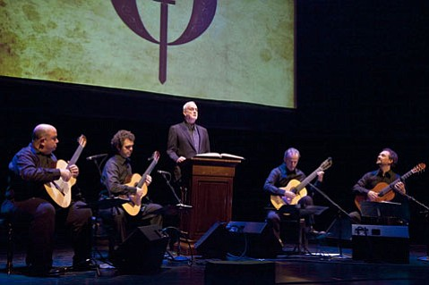 John Cleese in Don Quixote, with the Los Angeles Guitar Quartet.