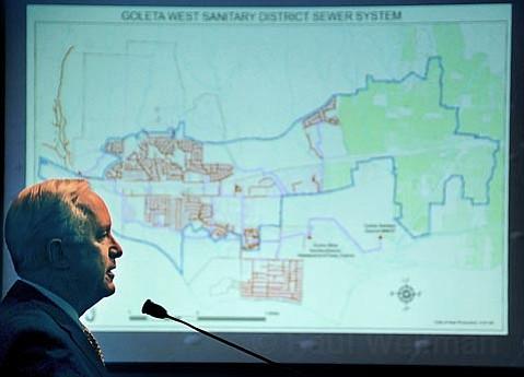 Steve Amerikaner speaking on behalf of the Goleta West Sanitary District at the Santa Barbara Board of Supervisors