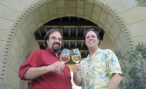 The Winehound's Bob Wesley (left) and Elements' Andy Winchester are each throwing their own wine futures tasting events this year, filling a void that opened when the Wine Cask closed.