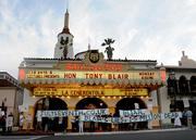 Protestors decry Tony Blair as a terrorist outside the Arlington Theatre where he spoke Thursday night