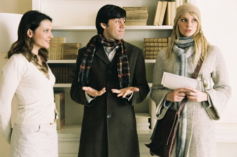 (From left to right) Virginie Ledoyen, Emmanuel Mouret, and Frederique Bel star in Shall We Kiss.