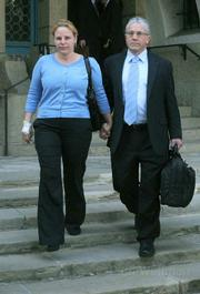 Anat and Oded Gottesman leave the Santa Barbara Superior Courthouse after a jury awarded $2.3 million for punitive damages in the wrongful death of their son Yoni.