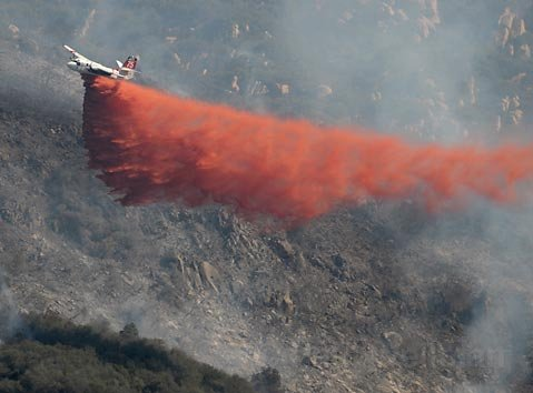 Air tankers making water drops on the Jesusita Fire early Wednesday morning