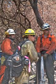 Hand crews check progress in Maria Ygnacio Canyon.