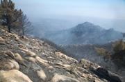 Area just below La Cumbre peak was burned out on Friday night.