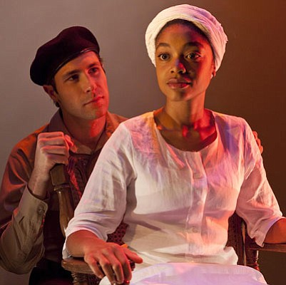 Matthew Horn as Ale with Qualiema Green as Pilar in Barbara Lebow's <em>La Ni±era: The Nursemaid</em>.