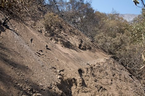 Slide material in upper Rattlesnake Canyon makes the trail impassable in places.