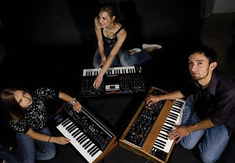 The Volt Per Octaves with daughter, Eva (left).