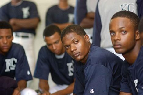 """Algeniz Perez Soto (center) plays Domincan baseball player Miguel """"Sugar"""" Santos in Sugar."""