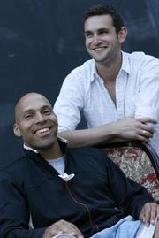 Brian Granger (left), playwright of <em>Rebel Moon</em>, with Stephen Ravet, playwright of <em>Coming In</em>.