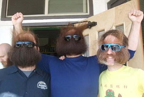 Jeff, Burke, Eric beardfacin' at the Pioneer Bar in Sitka, AK