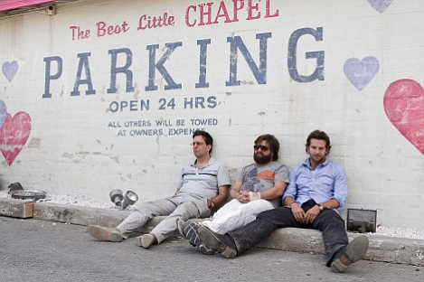 (From left to right) Ed Helms, Zach Galifianakis, and Bradley Cooper star in <em>The Hangover</em>.