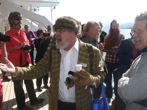Heinrich Schoner (of the legendary Pforzheim, Germany chapter) leads whoever is there to be led in some moose-gloved renditions of German anthems and drinking songs.