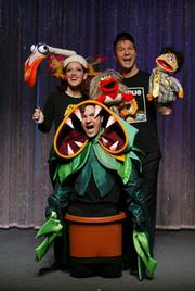 The cast of <em>Forbidden Broadway</em> mocking all the puppets that have been popping up in Broadway shows lately.