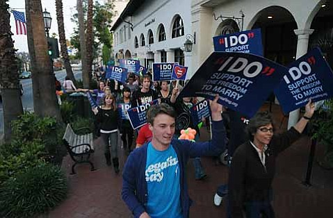 Protestors march on State Street after the Supreme Court upheld Prop 8