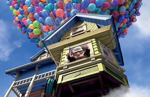 Carl is determined to go to South America, so he turns to the power of helium-filled balloons to get him there in <em>Up</em>.