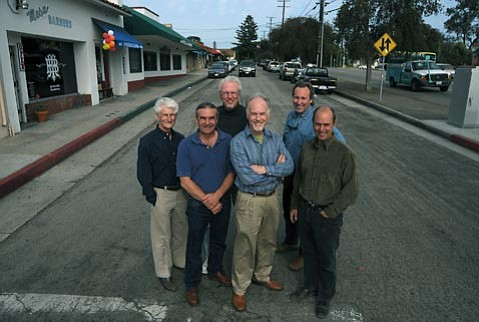 <strong>Imagine this:</strong>  Architects Tom Morrison, Jim Bell, John Kelley, Dennis Thompson, Jeff King, and Derrik Eichelberger in the frontage road they would like to see renovated as a public plaza on the northeast corner of Meigs Road and Cliff Drive.