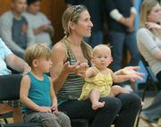 Adrian Roden with 1-year-old daughter Giselle and 3-year-old son Lucas at the Ziggy Marley show at the Boys & Girls Club