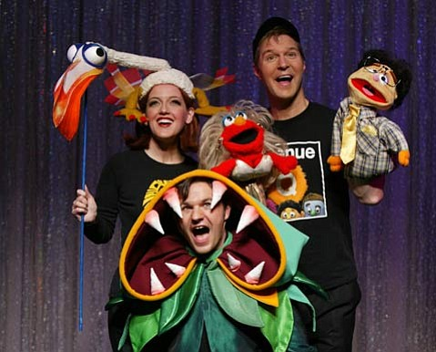 <em>Forbidden Broadway</em> spoofs the current theatrical trend of puppets.