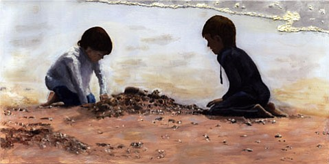 """Beach Builders,"" oil on canvas, by Peter Worsley."