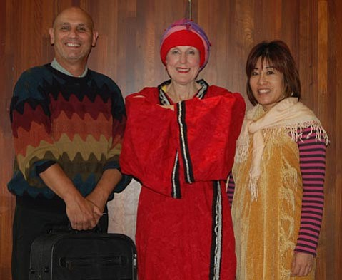 """From left: William York Hyde, Carol Metcalf, and Deborah Cristobal will act in DIJO Productions' performance of David Ives's """"Arabian Nights."""""""