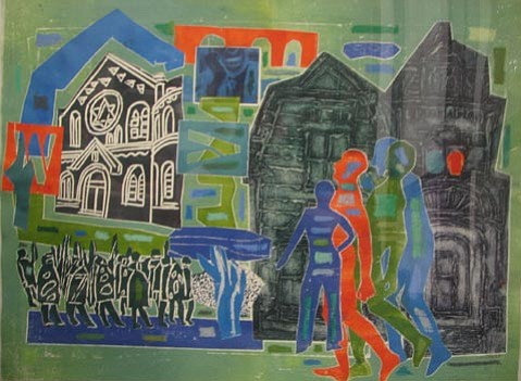 """Mixed media """"Shtetl, (Village)"""", by Margaret Singer."""