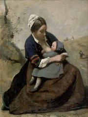 Jean-Baptiste Camille Corot, Mother Nursing Infant, nd. Oil on canvas. Collection of Lady Ridley-Tree.