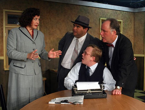 Leslie Gangl Howe, Joseph Beck, George Coe and Jon Koons in SBCC Theatre Group's production of Neil Simon's <em>Laughter on the 23rd Floor</em>.