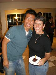 Despite a few bumps in the road-including having to switch host families due to uncomfortable living conditions-during Yeong Jae Kim's time in Santa Barbara, new friends and good memories have still managed to abound, as seen here during his birthday celebration with Harriet Kaempf.