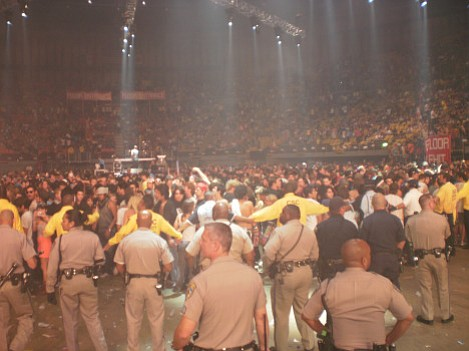 Police clear the Forum floor
