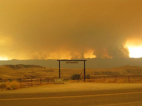 A scene from Sunday, August 9, La Brea fire