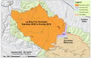 La Brea Fire map, August 18, 2009