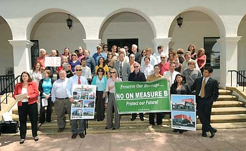 An unlikely coalition thronged the front steps of Santa Barbara City Hall to denounce Measure B, the proposed ballot initiative that would reduce the maximum allowable building height to 40 feet downtown and 45 feet elsewhere throughout the city.