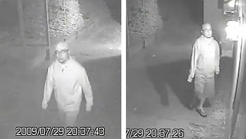 Stills from a surveillance video that captured an apparent prowler outside a Cathedral Oaks area home on July 29.