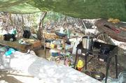 A makeshift kitchen from an earlier eradication in 2009.