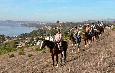 Equestrian group enjoys the newly-opened Bella Vista Trail on the Nesbitt property just east of the Greenwell Preserve.