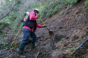When huge flooding caused severe trail damage in Winter 2005, MTF was there to rebuild the trails within days. Here crew workers begin to dig out the lower part of Cold Spring Trail.