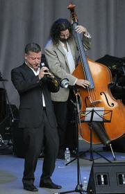 Trumpeter Nate Birkey with Jim Connolly on bass
