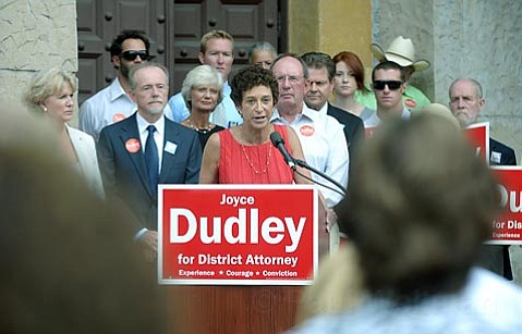 <strong>In to Win:</strong>  Senior Deputy District Attorney Joyce Dudley-surrounded by family, friends, and supporters-officially entered the 2010 DA's race on Tuesday. Dudley will square off against her boss, Christie Stanley, the incumbent DA.