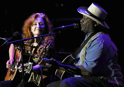 Bonnie Raitt (left) and Taj Mahal dished out solo sets before jamming together during their Saturday-night Bowl show.