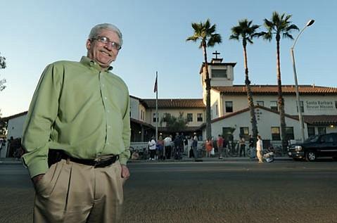 Senior Program Director John Gabbert outside the Santa Barbara Rescue Mission as the dinner line forms