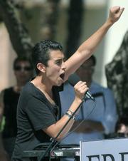 David Preciado rallies the crowd