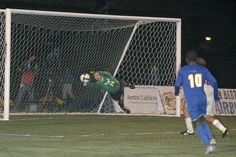Sam Hayden makes one of six saves that shut down Indiana