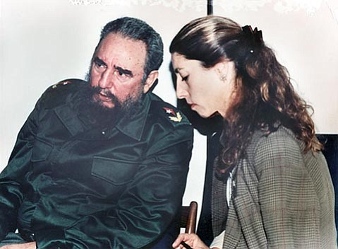"""<strong>With Fidel: </strong> Ann Louise Bardach talks with Castro in January 1994. """"Few men have so zealously pursued longevity as Fidel Castro,"""" Bardach writes in her most recent book about the Cuban leader."""