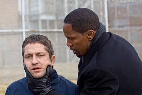 Gerard Butler (left) and Jamie Foxx star in <em>Law Abiding Citizen</em>.