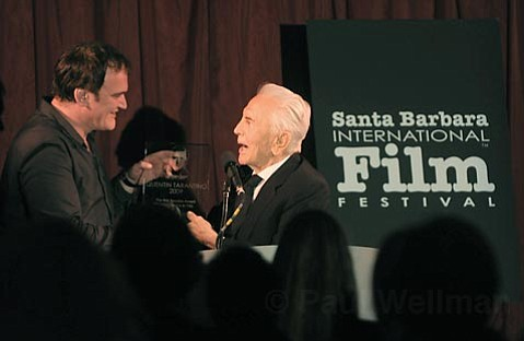 Kirk Douglas presents Quentin Tarantino with the 2009 Kirk Douglas award