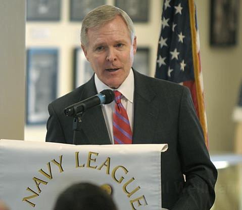 U.S. Secretary of the Navy Ray Mabus speaking at a  Santa Barbara Navy League lunch