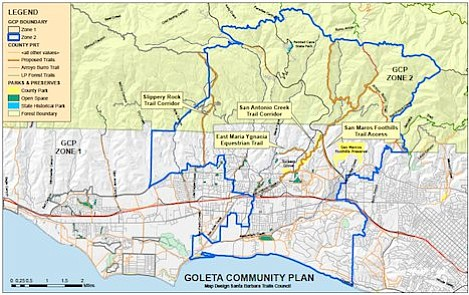 Map outlines boundary of Goleta Valley Community Plan area and several initial proposals for new trail access in the Goleta Valley. The Trails Council is seeking input on additional trail access within the planning area and in other parts of the community.